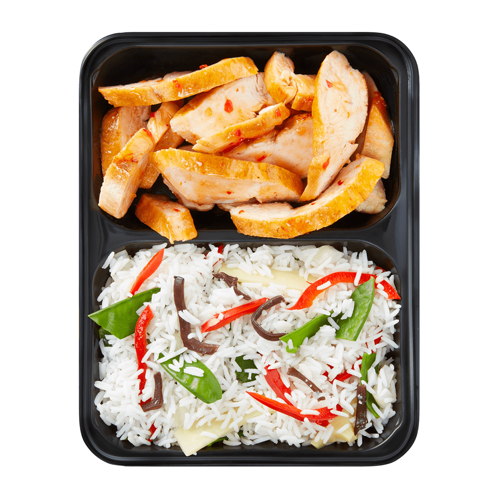 Chili Chicken with rice and vegetables