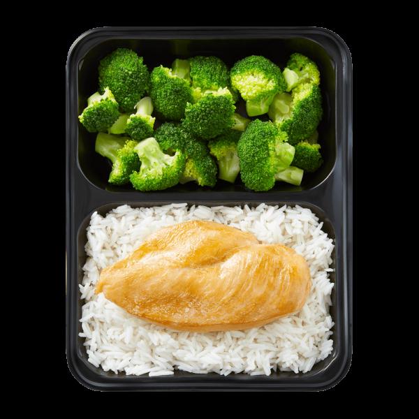 Hähnchenbrust und Langkornreis mit Broccoli