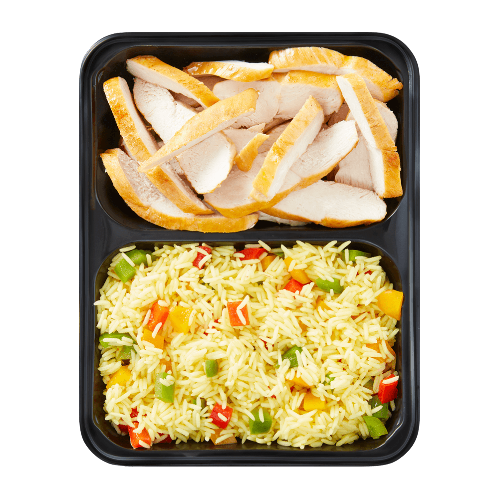 Chicken Stripes with Pepper Rice