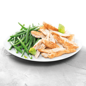 Chicken Stripes with Bush Beans