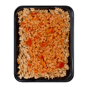 Wholemeal Fusilli with minced Soy-Chili